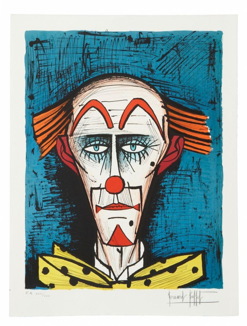 Bernard BUFFET (1928-1999) CLOWN SUR FOND BLEU, 1985 Lithographie Sold 1 500€ #artauction