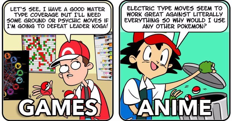 Pokemon Games Vs Anime Funny Pictures Pokemon Games