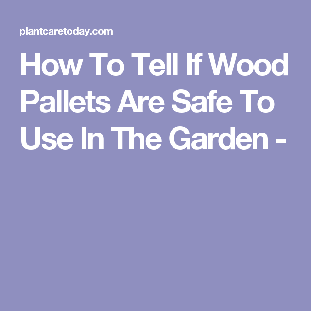 How To Tell If Wood Pallets Are Safe To Use In The Garden ...