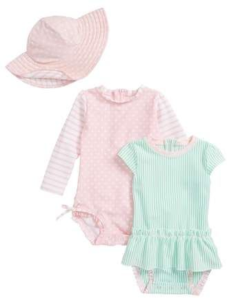 c14a40094d RuffleButts Two-Piece Swimsuit, One-Piece skirted Rash guard & Floppy Hat  Set