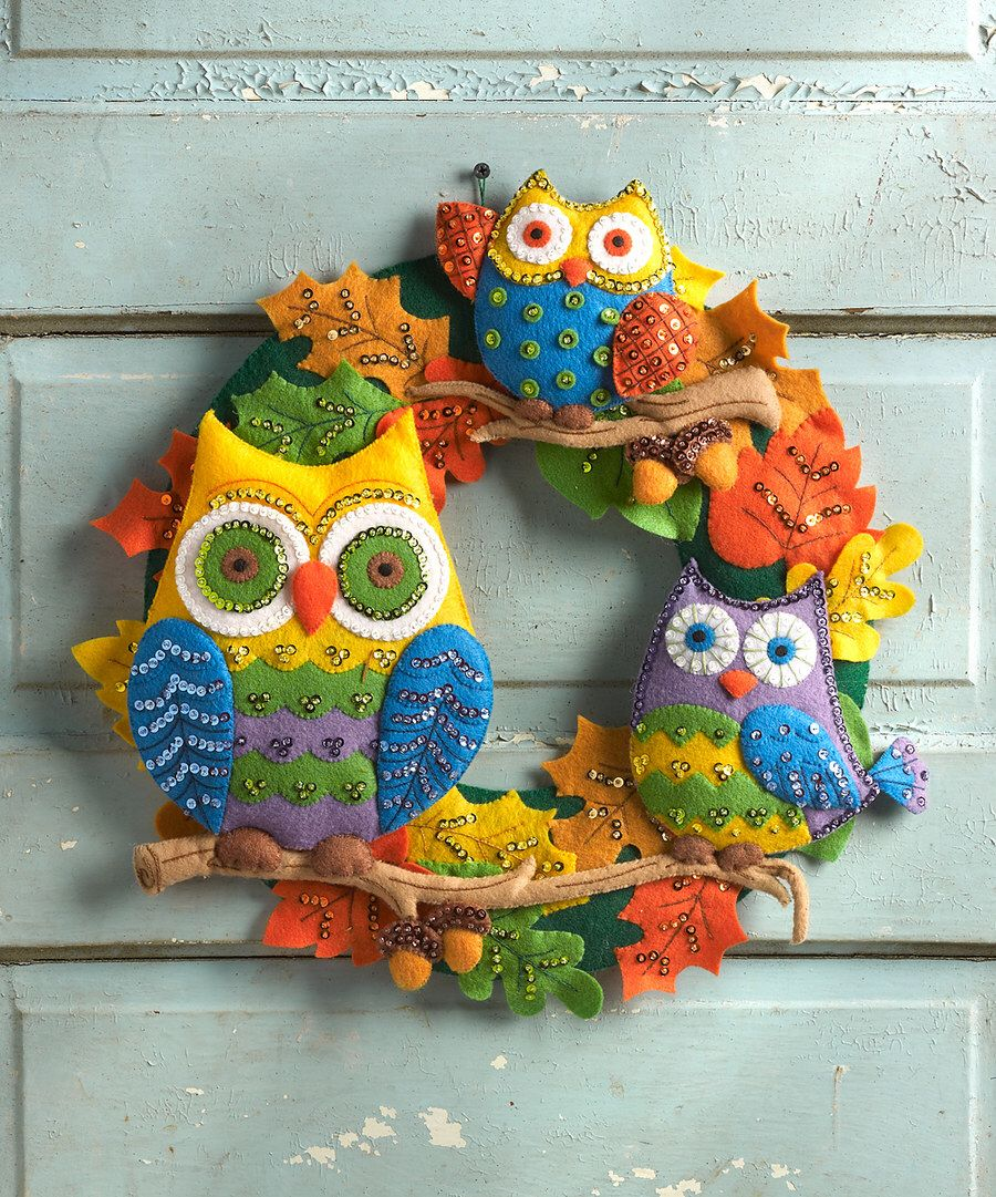 Look at this Owl Felt Wreath Embroidery Kit on zulily