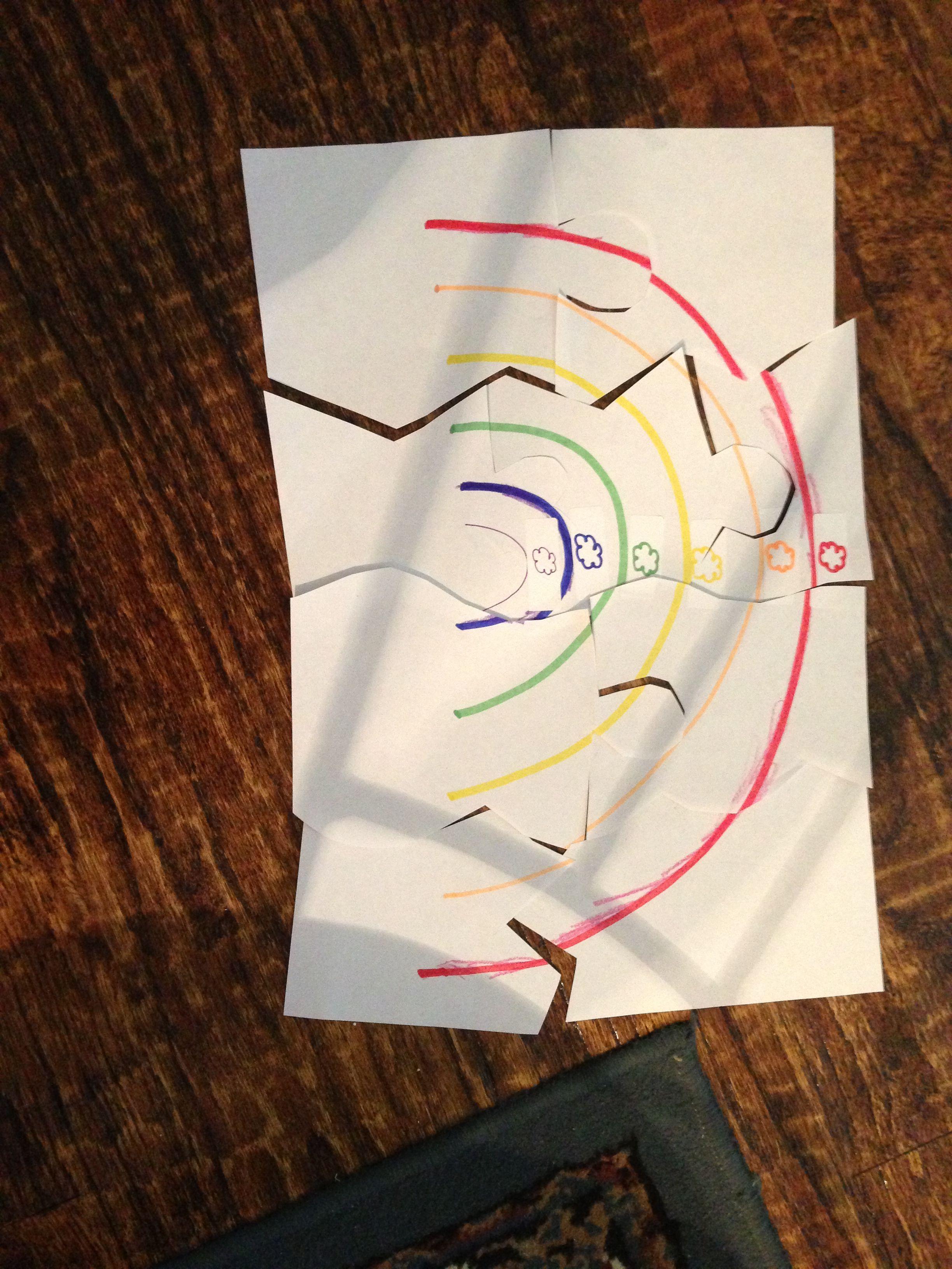 MFW colors unit - rainbow puzzles - color, stick/match, and cut