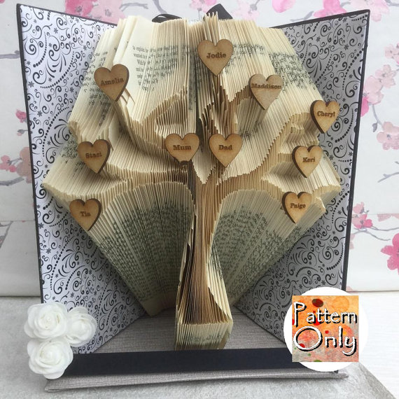 tree folded book art pattern book folding b cher. Black Bedroom Furniture Sets. Home Design Ideas