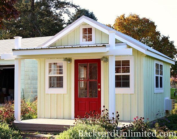12x14 garden shed with metal roof board batten siding custom