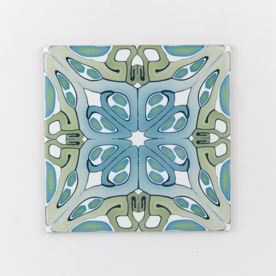 Art deco handmade tiles, 15cm / 6 inch azulejos, blue green kitchen splashback tiles, feature wall pattern tile, edwardian country kitchen