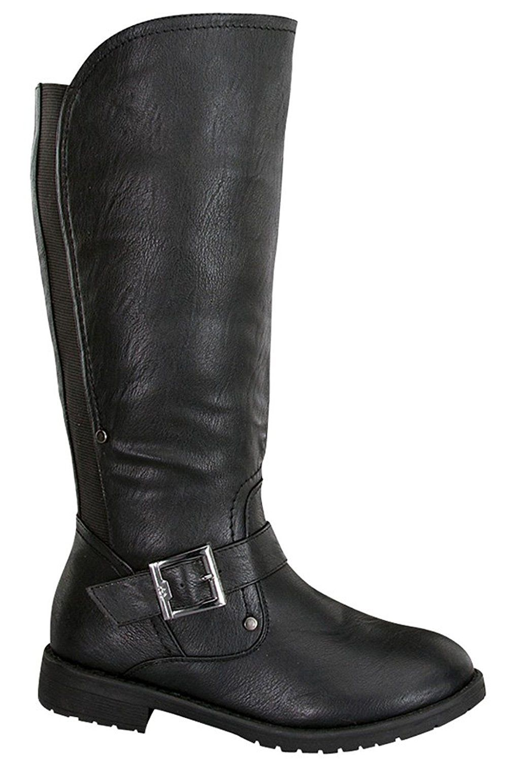 Buckle Side Leather High Casual Strap Top Zipper Faux Boots Guy Knee wOWxp7