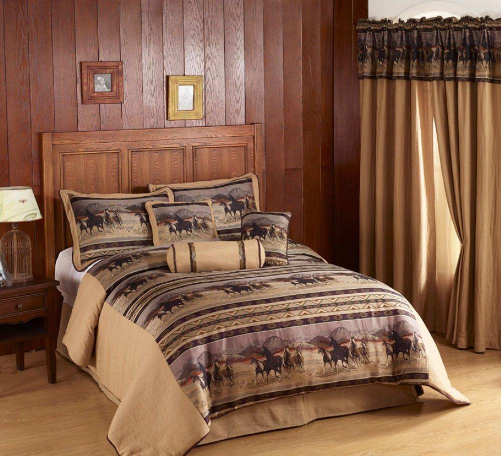Wild Horse Design 7pc Queen Sz Comforter Set Country