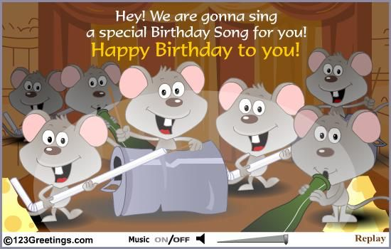 COOL SINGING MOUSE BIRTHDAY MESSAGE