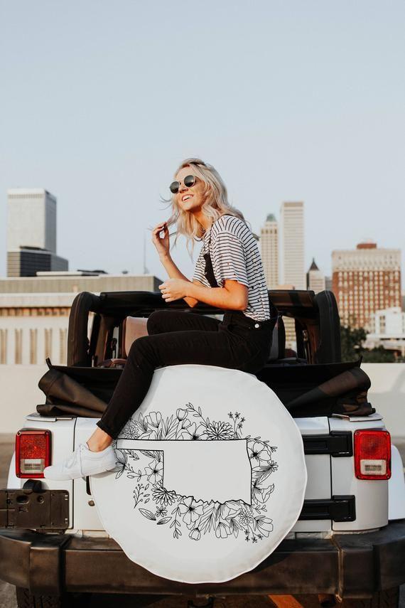 Floral Oklahoma Design White Tire Cover, State Design Tire Cover, Floral Tire Cover, Jeep Tire Cover, Car Accessories, Spare Tire Cover – Jeep