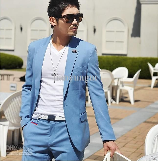 Custom made light blue fashion 1 button men's suits wedding ...