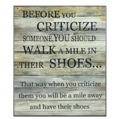 Mile in Their Shoes Textual Art Plaque