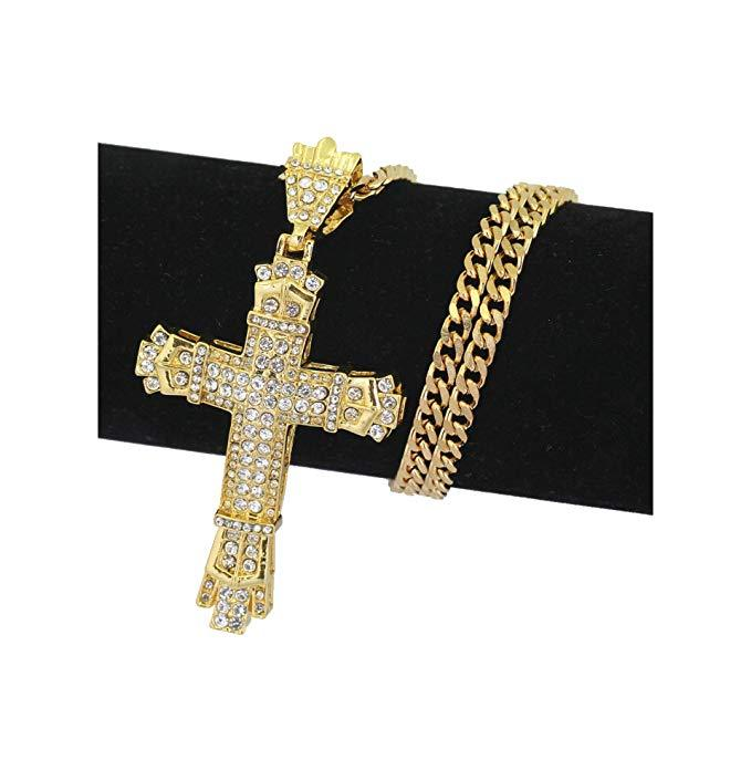 18K ROSE GOLD GF CRUCIFIX CROSS LAB DIAMONDS WOMENS MENS SOLID NECKLACE PENDANT