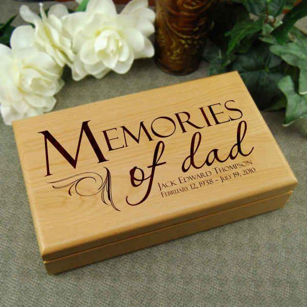 WOODEN HANDCRAFTED PERSONALISED BOX IN LOVING MEMORY KEEPSAKE GIFT MEMORIAL DAD