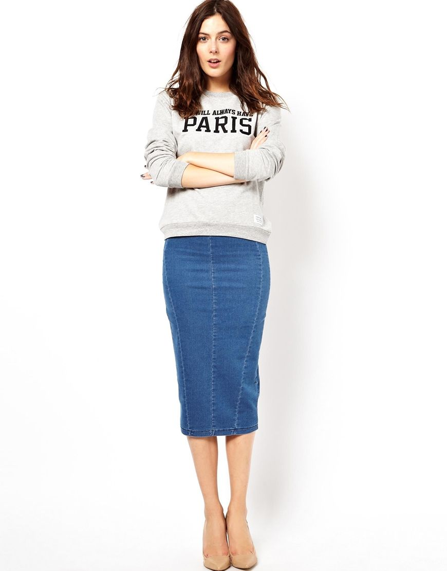 Denim Pencil Midi Skirt | Jill Dress