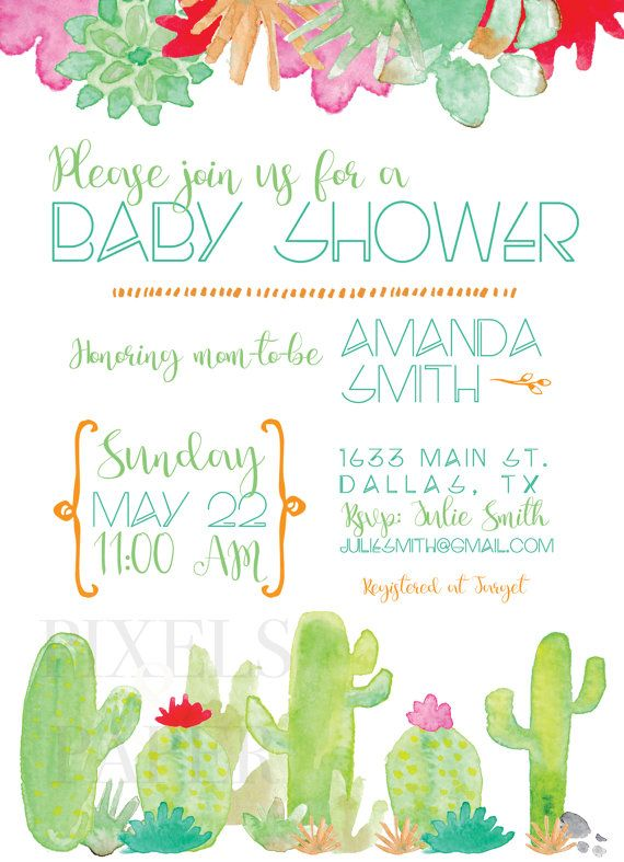 gender neutral cactus baby shower invitation printed invitations or digital file only