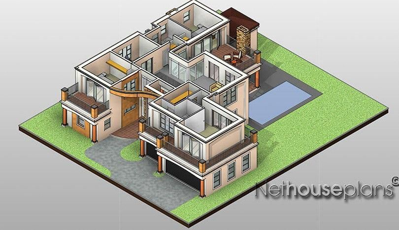 Modern Tuscan Style House Plan 3 Bedroom Double Storey Floor