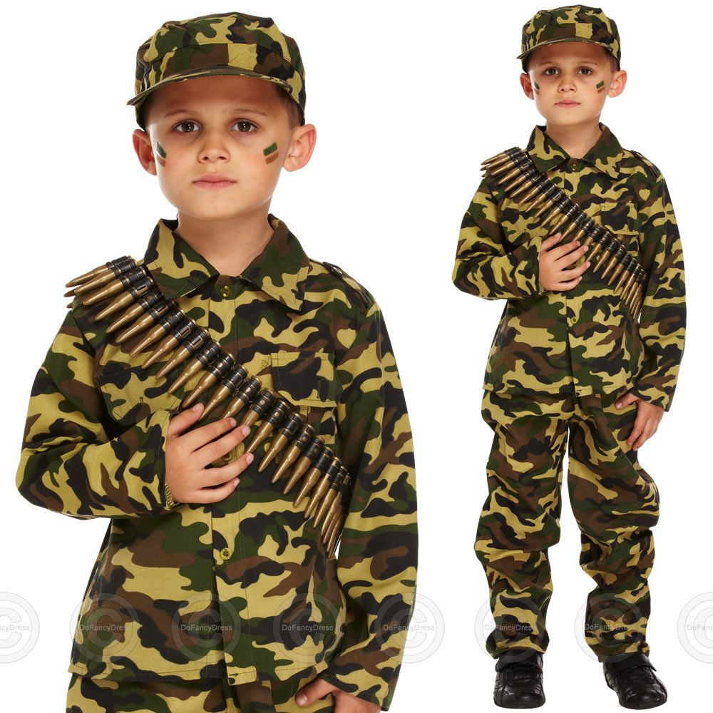BOYS ARMY FANCY DRESS COSTUME SOLDIER OUTFIT UNIFORM