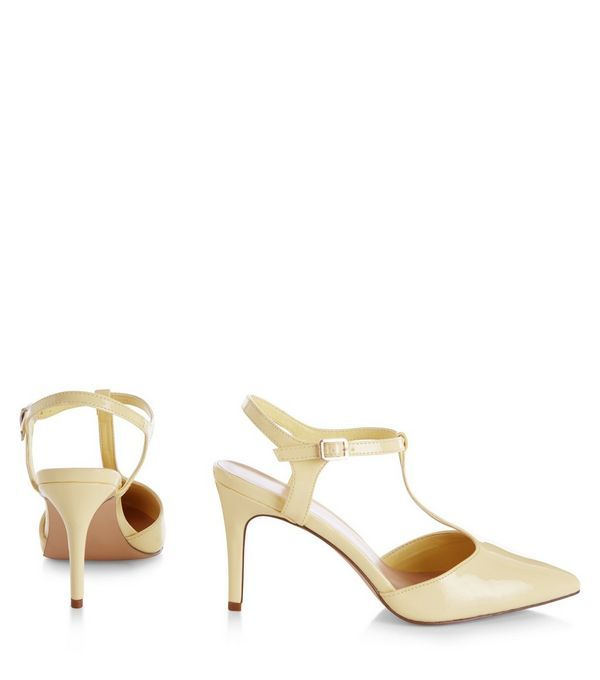 Wide Fit Yellow Patent T-Bar Strap Pointed Heels  | New Look