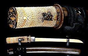 Samurai sword Edo Excellent Sunnobi Tanto Koshirae with Kozuka - Shark Skin handle