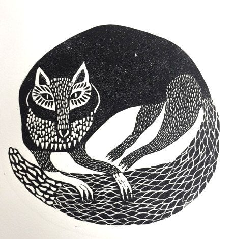 FOX lino cut print animal folk art by AnoukAndThePencils on Etsy