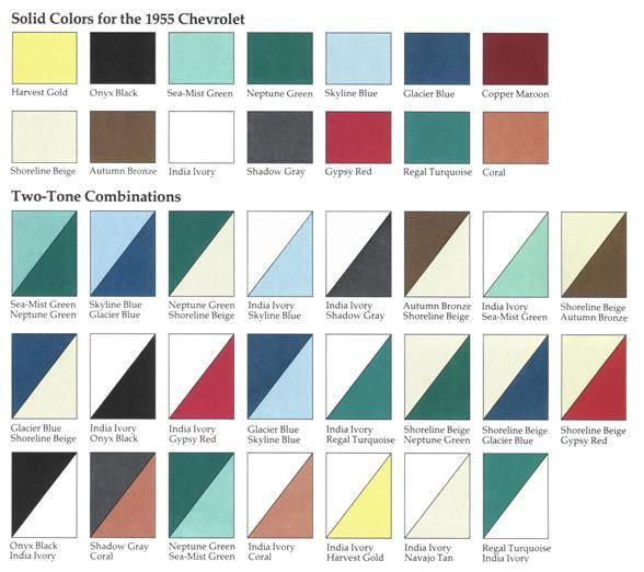 55 Chevy Color Chart 1955 Chevrolet Body Colors Solid Colors For