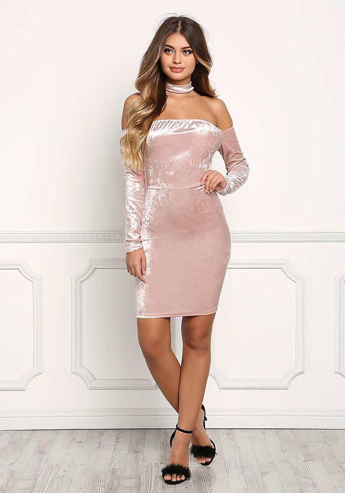 Blush Velvet Choker Off Shoulder Dress - Dresses   Clothing   Pinterest
