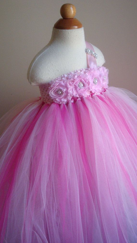Flower girl dress rosette, fuschia, tutu dress, roses, baby tutu ...