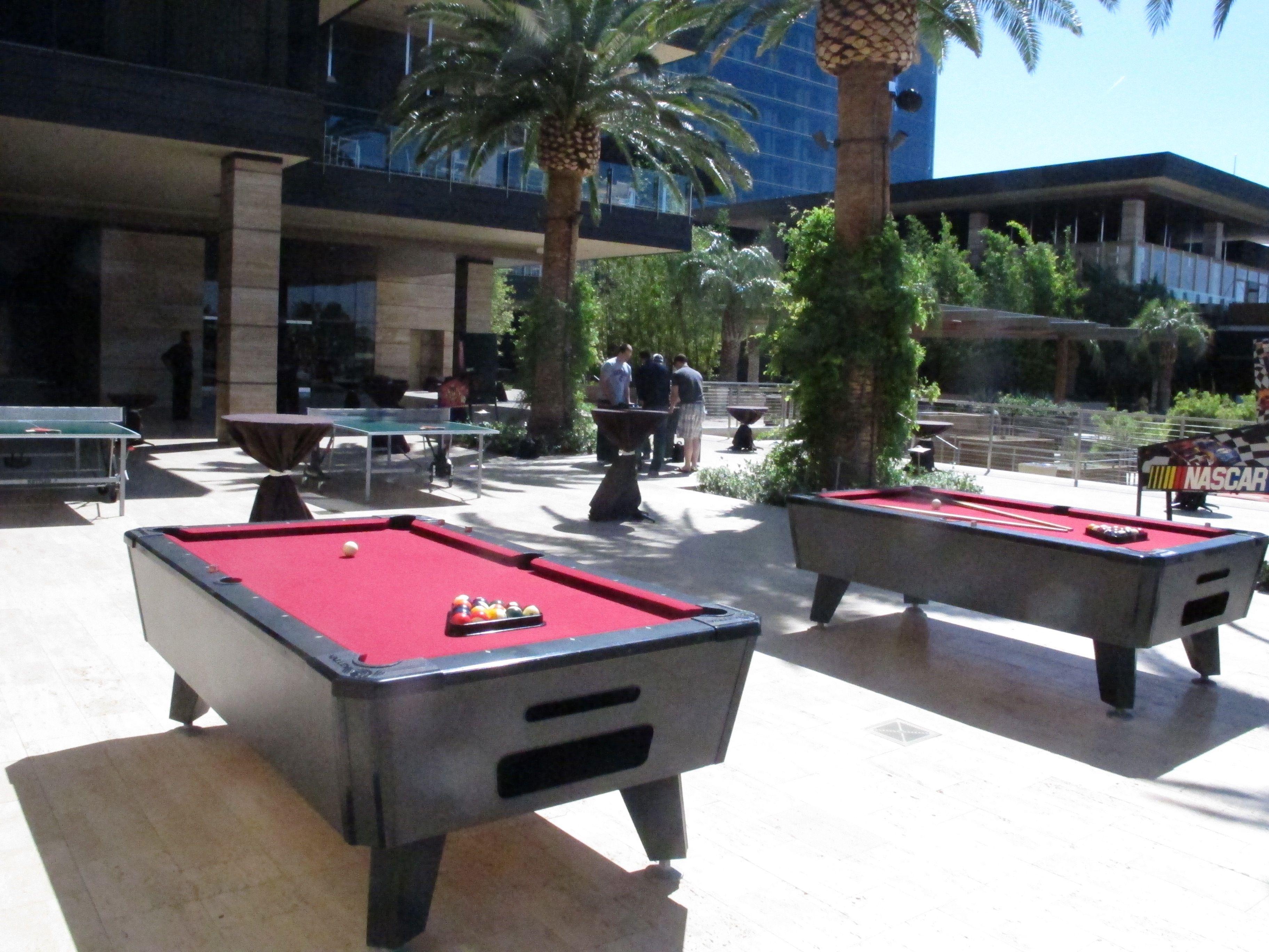 A fun outdoor gaming lounge at the M Resort pool in Las Vegas