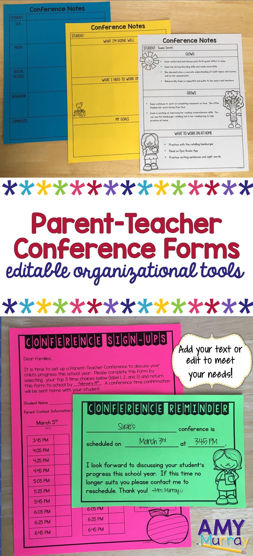 Parent Teacher Conference Forms Editable Classroom Ideas