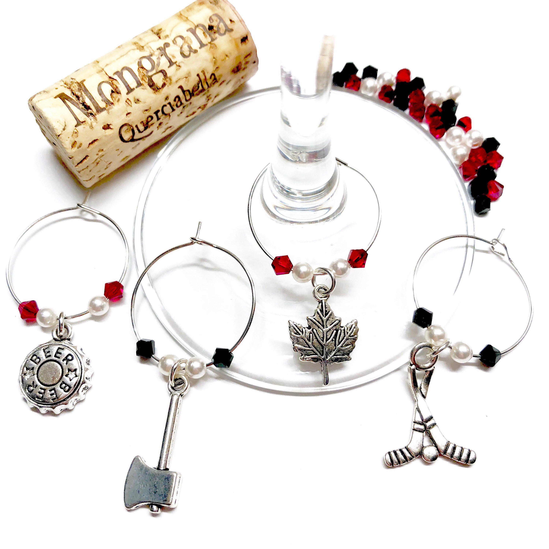 Canada Lumberjack Hockey wine charms with Swarovski crystals and ...