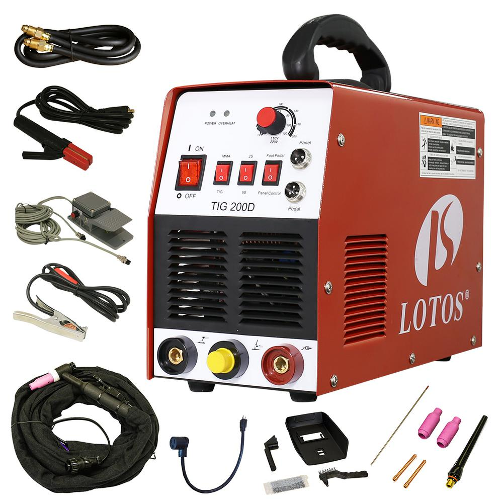 Lotos 200 amp tigstick dc inverter welder with foot pedal