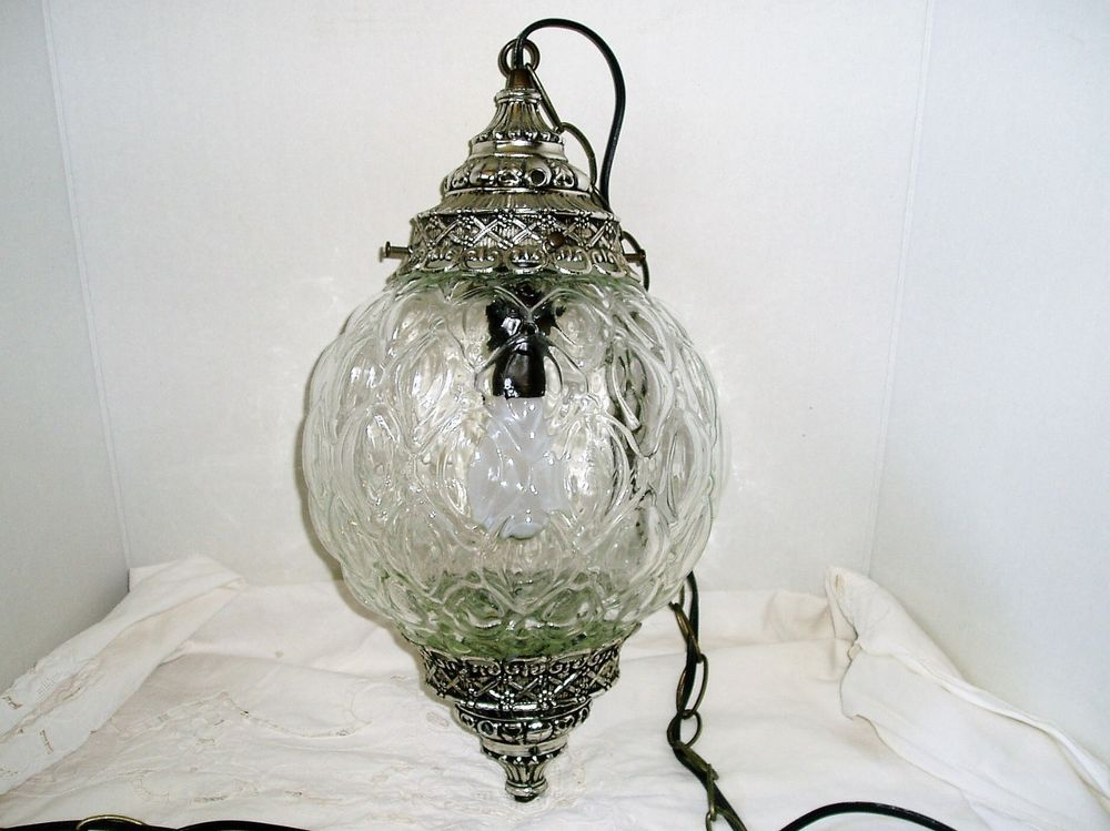 Vintage Mid Century Glass Globe Swag Hanging Lamp by LEVITON ...