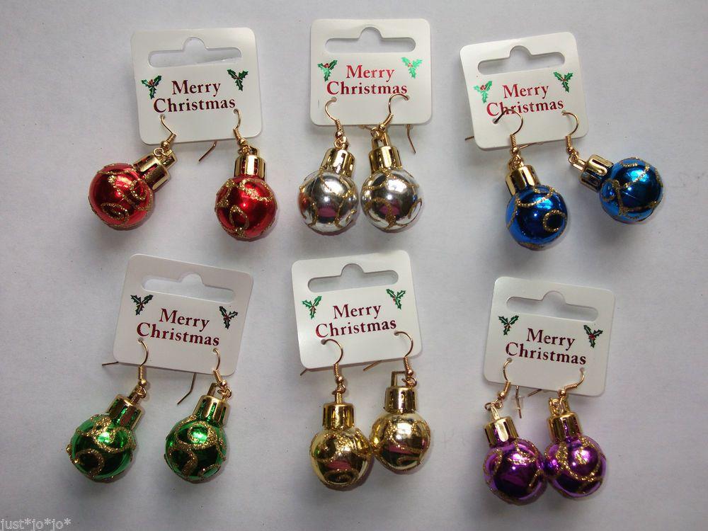 Christmas Bauble Earrings Glitter Drop Dangle Xmas Ear Ring Festive Party 263