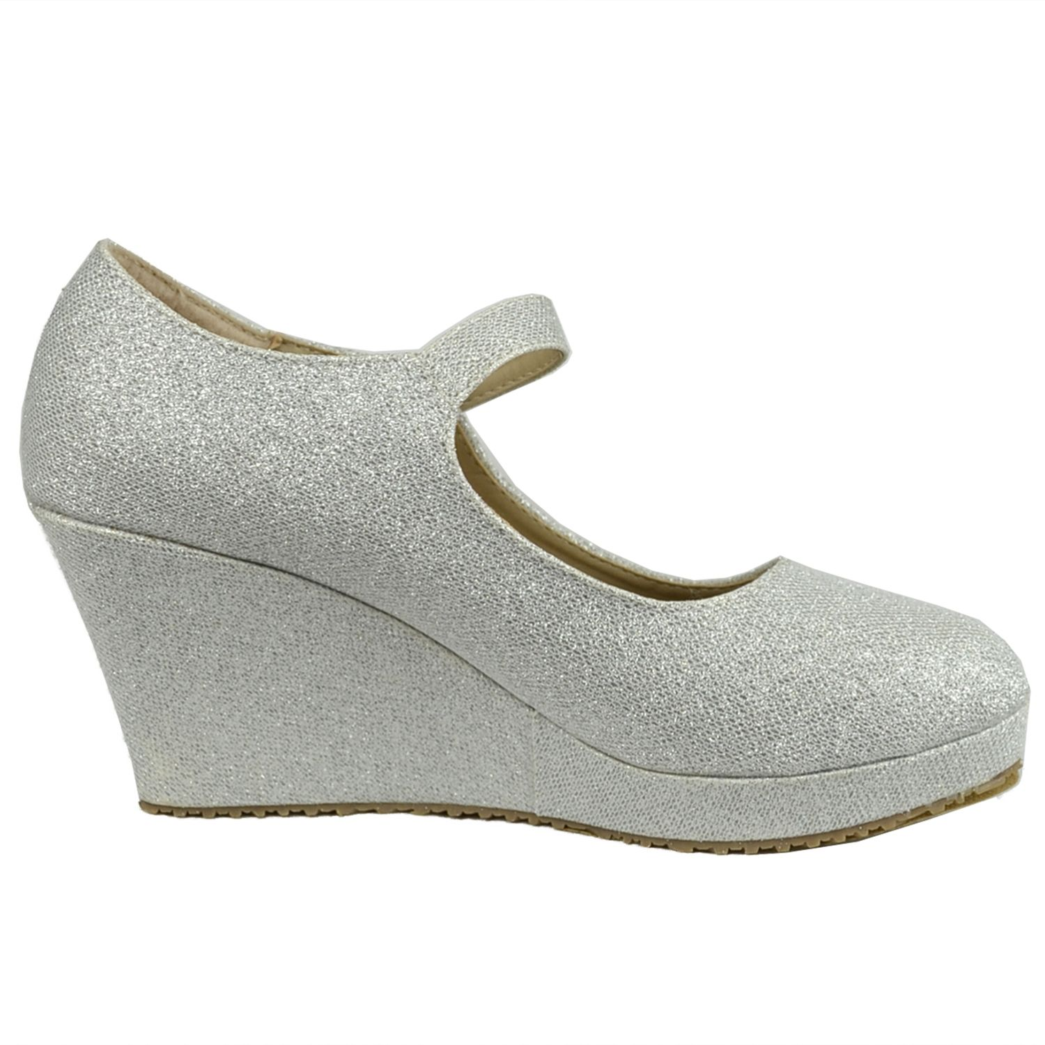 06c44a0f636 Womens Casual Platform Shoes Ankle Strap Closed Toe Mary Jane Glitter  Accent Wedges Silver