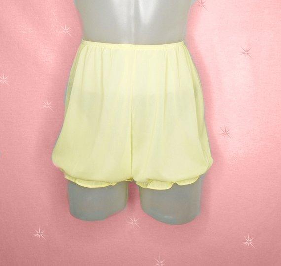 a7d0d1481de39 50s Vintage Panties, Nylon Bloomers, Sissy Panty, Yellow Sheer Full ...