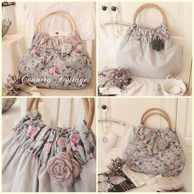 GREY (combination of floral, stripe, gingham and crocheted rose)... http://ein-stueck-garten.blogspot.com/2012/08/my-summer-shopper-bag-collection-2012.html