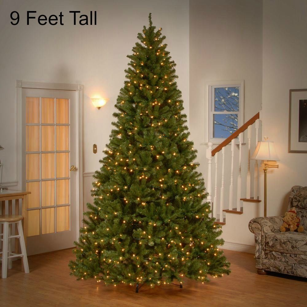 9 FT Tall Pre Lit Christmas Tree 700 Clear Lights Holiday Decor ...