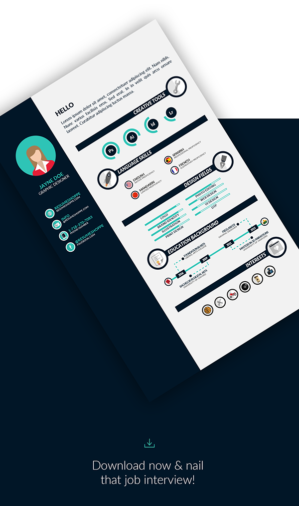 Free Infographic Resume Template for Adobe Illustrator. We