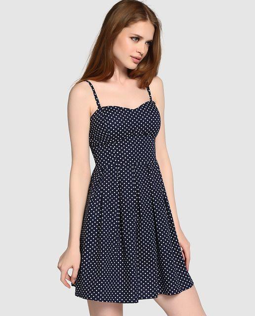 1529b60d43 Vestido de mujer Formula Joven en azul marino con estampado de lunares