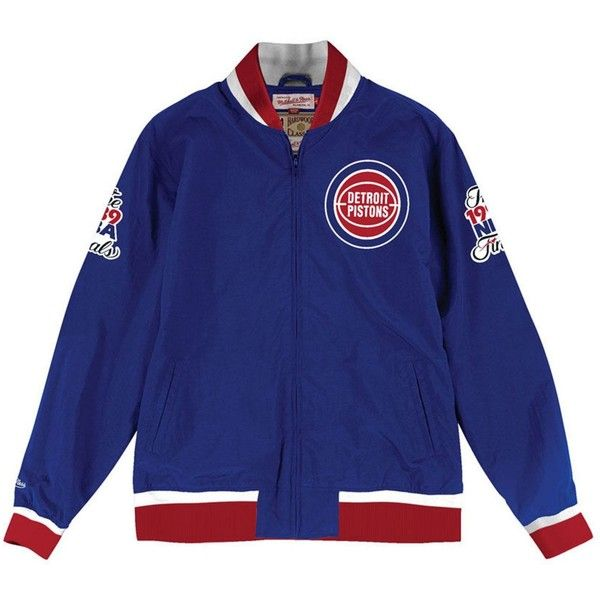 cc090365ab1 Mitchell & Ness Men's Detroit Pistons Team History Warm Up Jacket ($150) ❤  liked on Polyvore featuring men's fashion, men's clothing, men's apparel  and ...