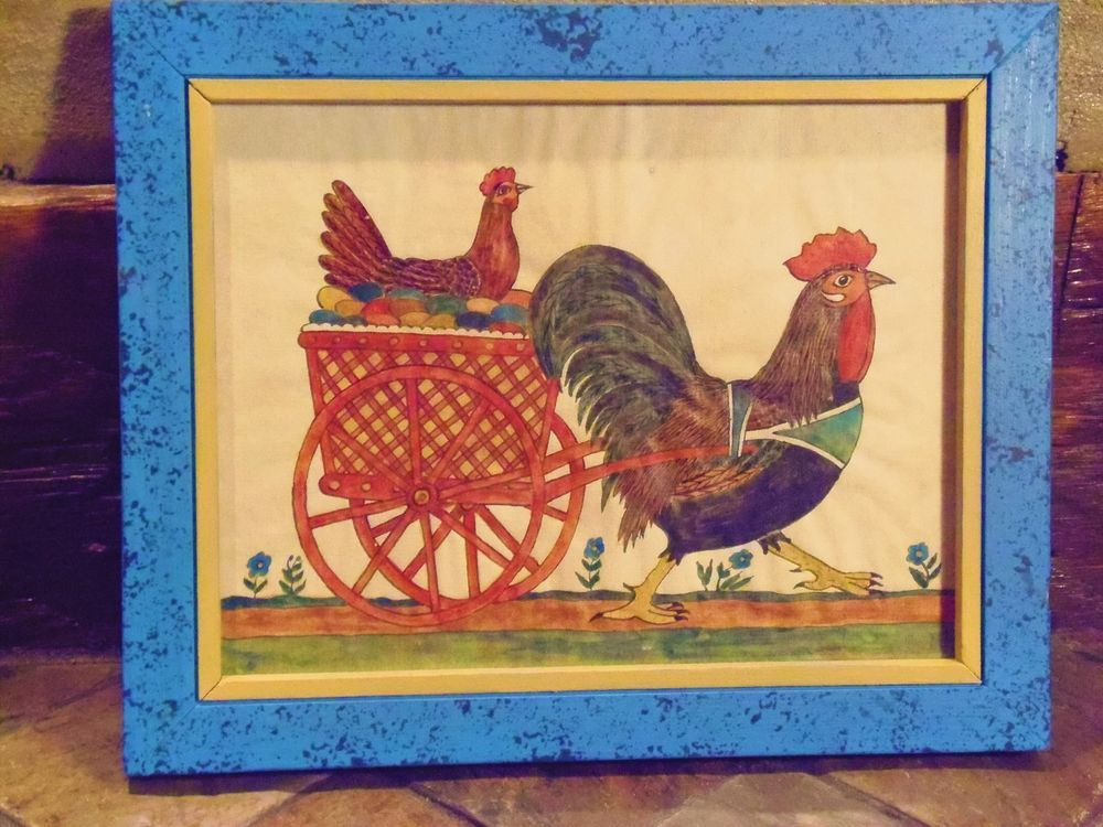 G B French Folk Art Watercolor Fractur Framed Chickens Rooster Cart