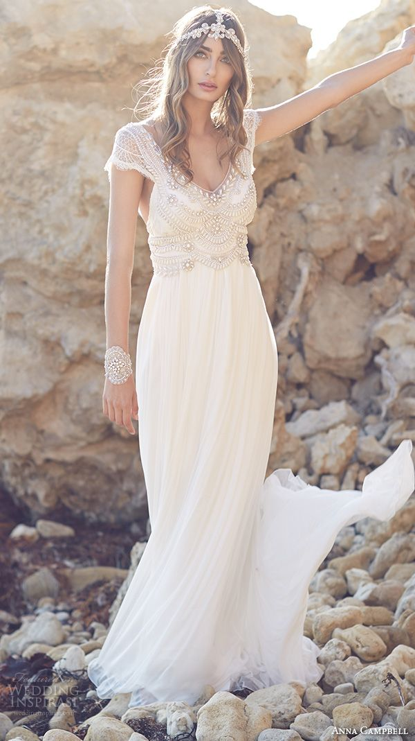 c7175cce0682 anna campbell 2015 bridal dresse cap sleeves scoop neckline beaded bodice  stunning fit to flare mermaid wedding dress coco silk tulle front view