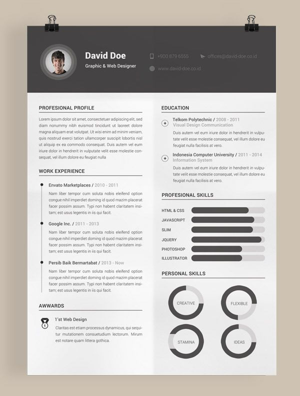 Free Printable Resume Freeresumetemplate  Curriculums  Pinterest  Template