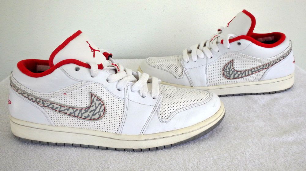 sports shoes 21cec 4f169 2010 Nike Air Jordan 1 Low Phat 338145-113 White Varsity Red-Cement Grey SZ  11  NIKE  AthleticSneakers