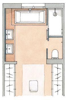 Plano | Planos de baños, Diseño de baños, Baños con closet