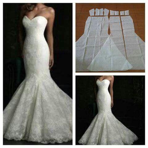 vestido sirena para novia.   patrones   patrones de vestidos