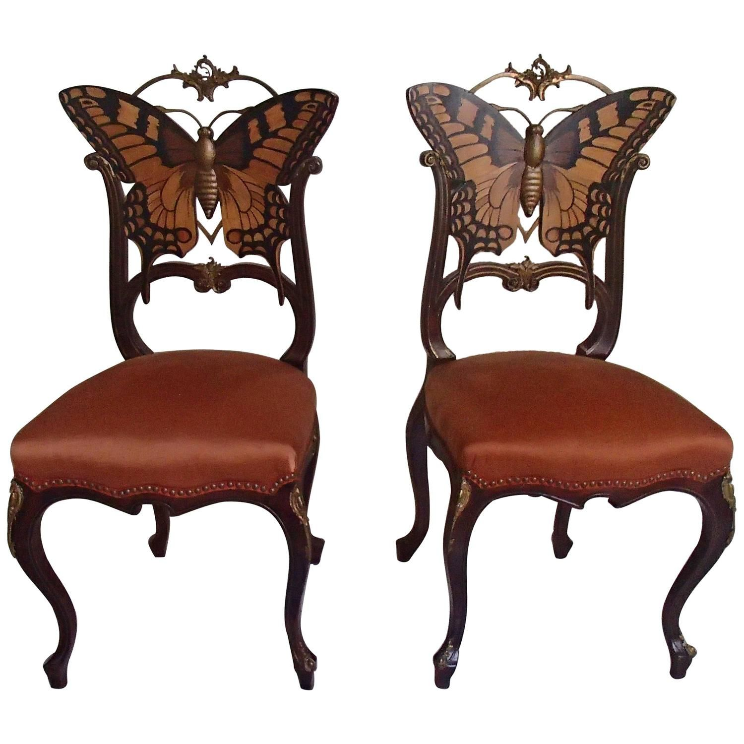 Antique furniture chair - Pair Of Early Art Nouveau Butterfly Chairs Inlays And Brass