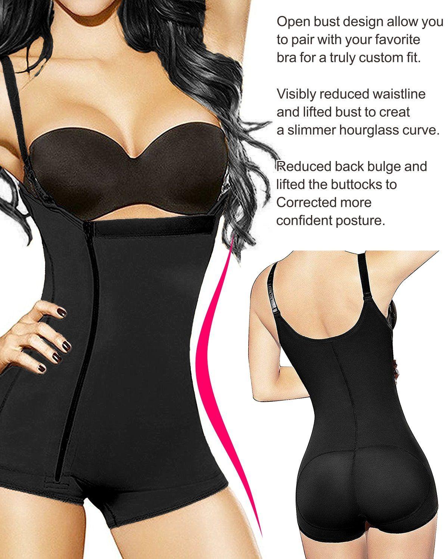 e4da94b8b YIANNA Womens Body Shaper Seamless Tummy Control Shapewear Open Bust  Slimmer Belly Shaper Bodysuit YA7110BlackXL    Click image to review more  details.