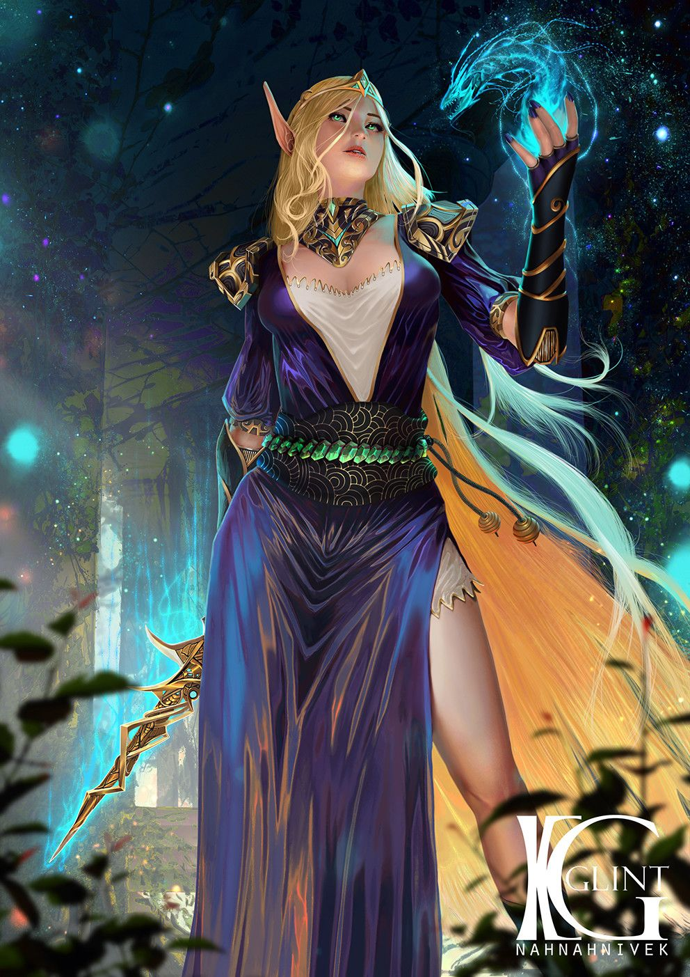 Blood Elf Sorcerer, Kevin Glint on ArtStation at https://www.artstation.com/artwork/XJZAY