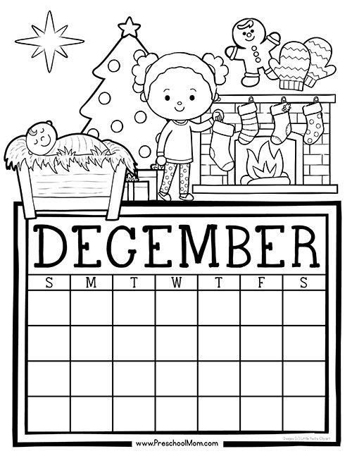 Free Monthly Calendar: Write & Color | Kids calendar ...